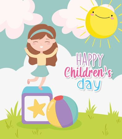 happy childrens day, little girl playing block and ball toys landscape nature sun clouds cartoon