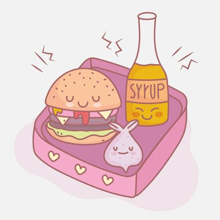 burger syrup and lunch menu restaurant food cute Ilustracja