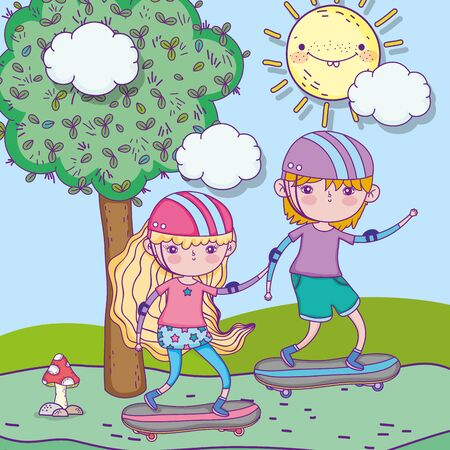 happy childrens day, boy and girl riding skateboard in the park Stock Illustratie