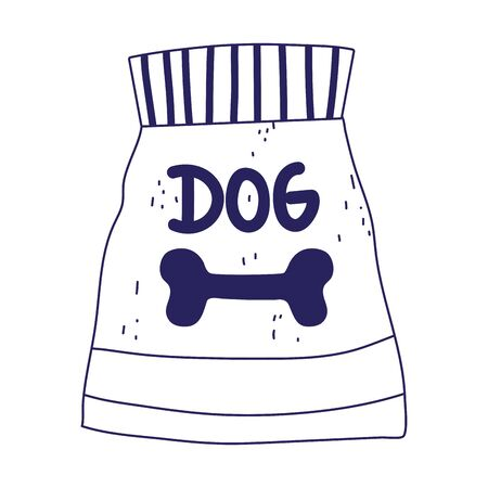 package food for dog pets on white background vector illustration lineal design