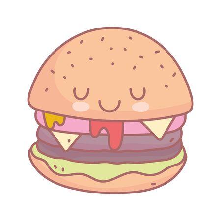 burger character menu restaurant cartoon food cute vector illustration