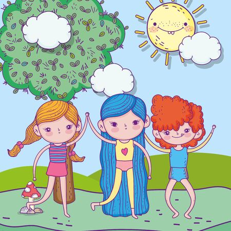 happy childrens day, little girls and boy together in the park landscape vector illustration