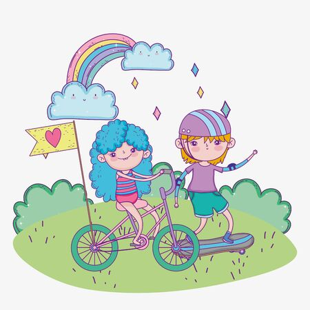 happy childrens day, cute boy and girl riding bike and skateboard in the park vector illustration Vectores