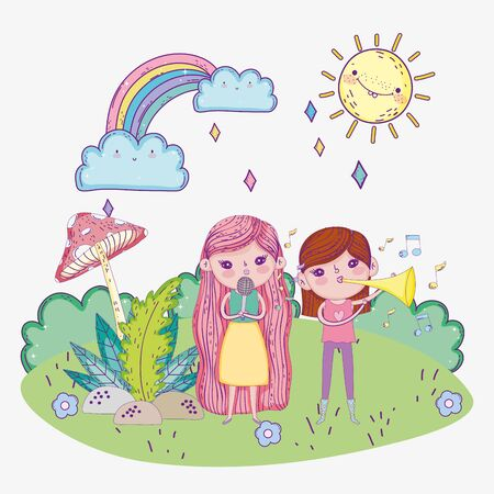 happy childrens day, girls sing with microphone and trumpet outdoors Ilustração