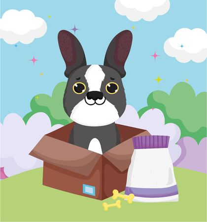 little dog in box with bones and food pets Illustration