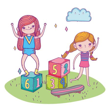 happy childrens day, girls playing with blocks and skateboard grass