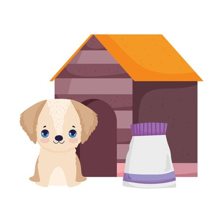 dog sitting in house with food package pets Illustration