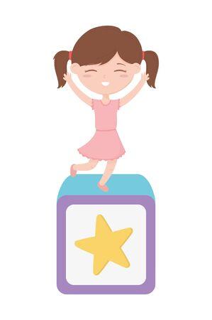 happy childrens day, little girl on block toy celebration cartoon vector illustration