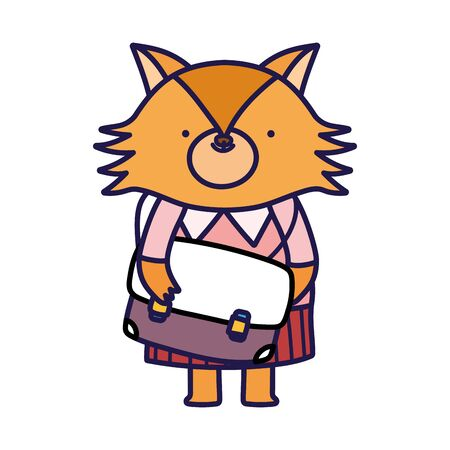 back to school education cute fox with schoolbag
