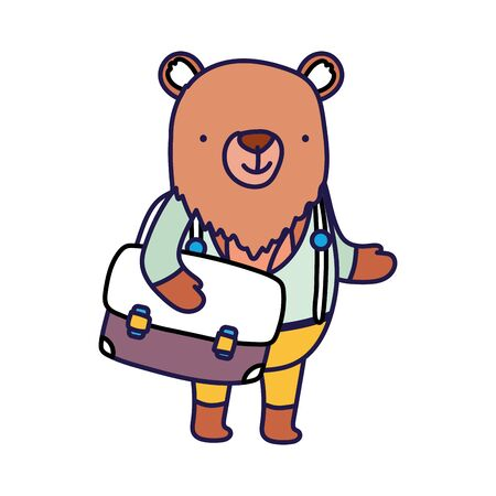 back to school education cute bear with bag and clothes vector illustration