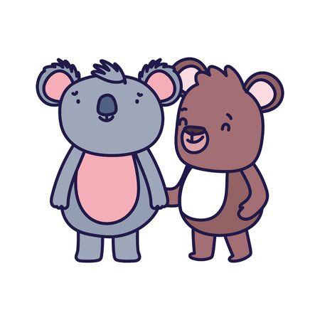 little teddy bear and koala cartoon character on white background vector illustration