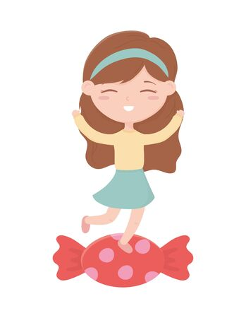 happy childrens day, little girl on candy celebration cartoon 일러스트