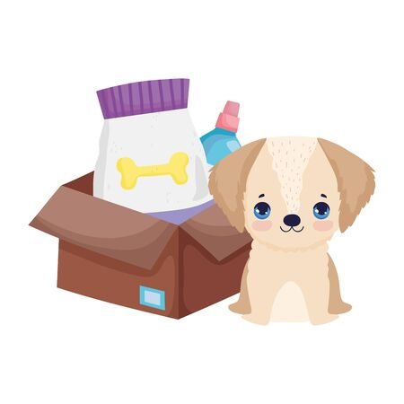 dog puppy with box package food canine pets