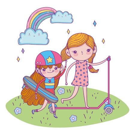 happy childrens day, girls with scooter and skateboard outdoor vector illustration