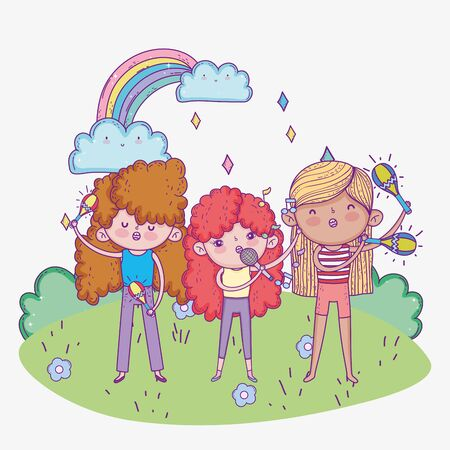 happy childrens day, band musical girls with microphone trumpet and maracas vector illustration