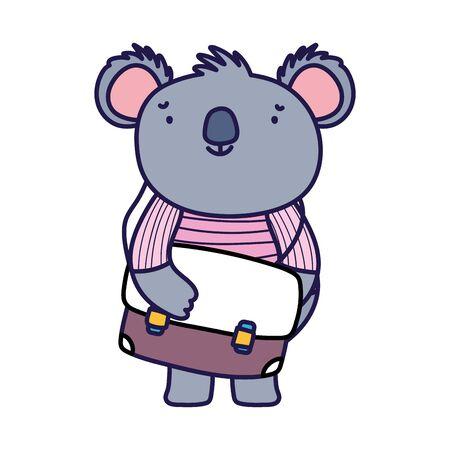 back to school education cute koala and schoolbag