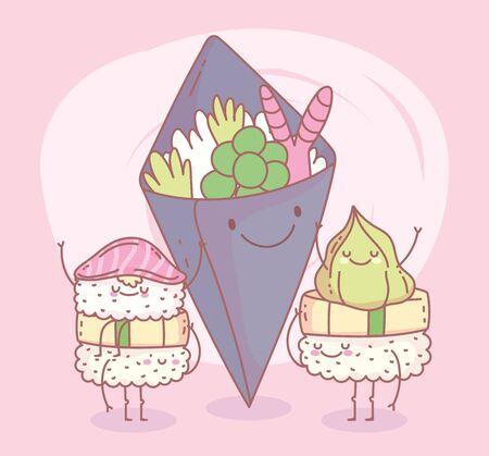 salad with sushi japanese menu restaurant food cute vector illustration
