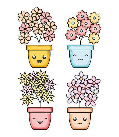 set of garden plants in pots kawaii characters