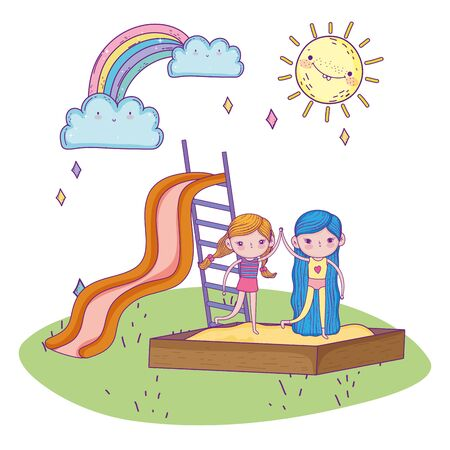 happy childrens day, girls together smiling in sandbox and slide park vector illustration