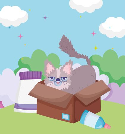 cute kitty in cardboard box with food outdoor pets vector illustration