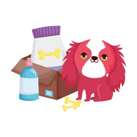 funny little dog with food packacge bones veterinary bottle pets vector illustration