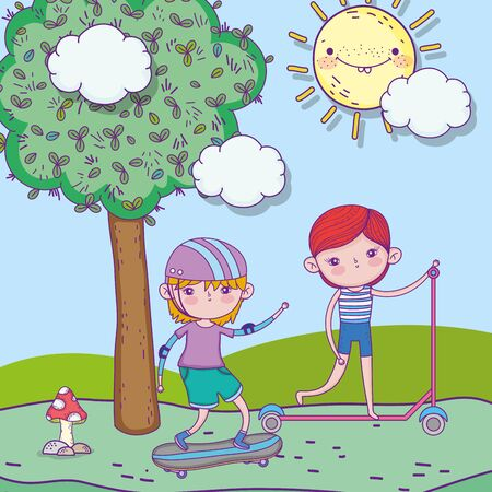 happy childrens day, little boys playing with skateboard and scooter park landscape vector illustration Vectores
