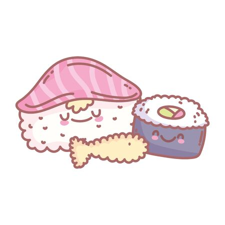 sushi rice salmon and tempura fish menu restaurant food cute vector illustration