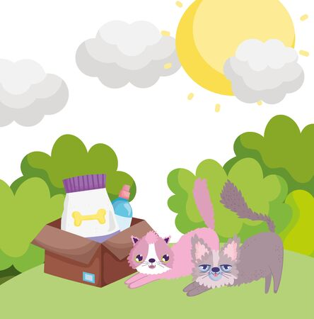cartoon cats with box food in grass pets