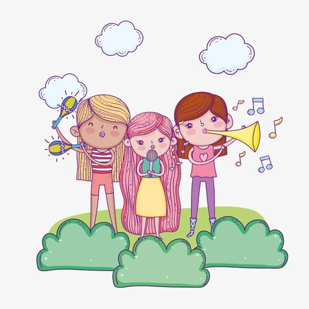 happy childrens day, band musical kids with microphone and trumpets Illustration
