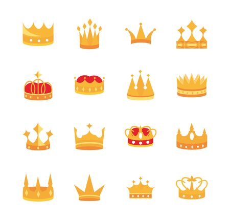 gold crowns jewel authority coronation monarchy luxury icons set 向量圖像