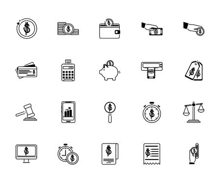 money business financial trade commerce icons set line style icon vector illustration