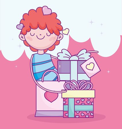happy valentines day, boy with gifts and shopping bag cartoon vector illustration