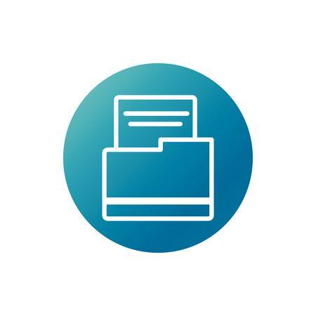 office folder file archive stationery supply vector illustration block gradient style icon Иллюстрация