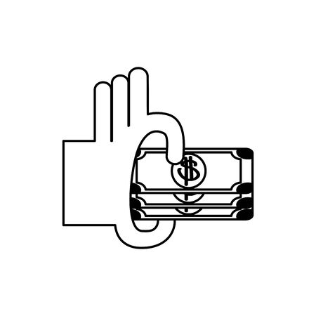 hand with banknotes money business financial line style icon vector illustration