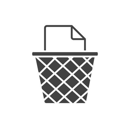office trash can paper garbage supply vector illustration silhouette on white background