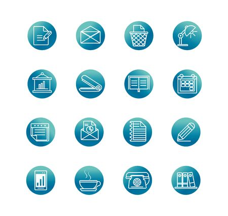 office supply equipment stationery icon set vector illustration block gradient style icon