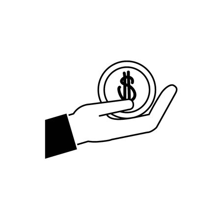 hand holding coin money business financial line style icon vector illustration