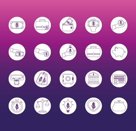 money business financial trade commerce icons set gradient style icon