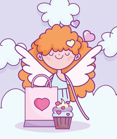 happy valentines day, cupid with cake and bag gift Çizim