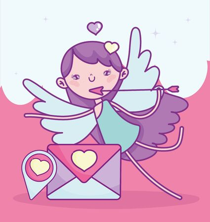 happy valentines day, cupid with arrow send letter pin destination love vector illustration