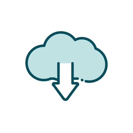 cloud computing download arrow data social media line and fill vector illustration