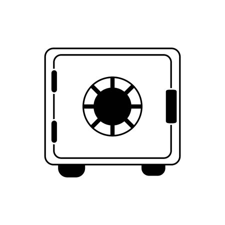 safe box bank money business financial line style icon vector illustration Vettoriali