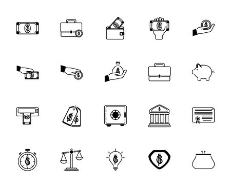 money business financial trade commerce icons set line style icon Stock Illustratie
