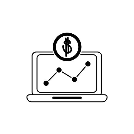 laptop computer chart report profit money business financial line style icon vector illustration
