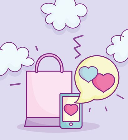 happy valentines day, smartphone love message shopping bag vector illustration Vettoriali