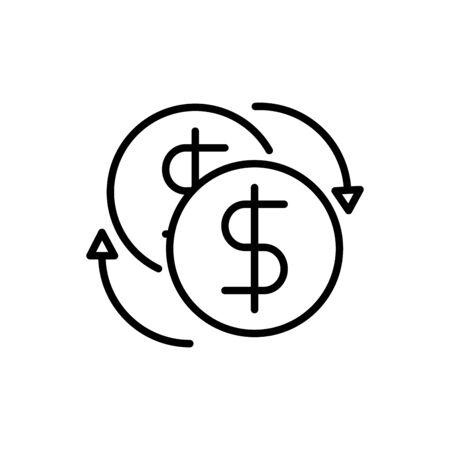 coins exchange business cash money line design vector illustration