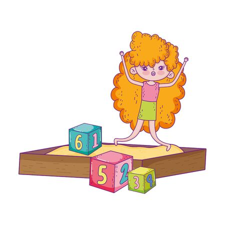 happy childrens day, girls playing in sandbox with blocks park vector illustration Illustration
