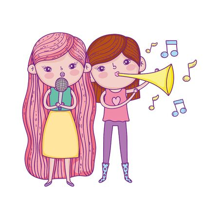 happy childrens day, kids with microphone and trumpet music park vector illustration Banque d'images - 140216366