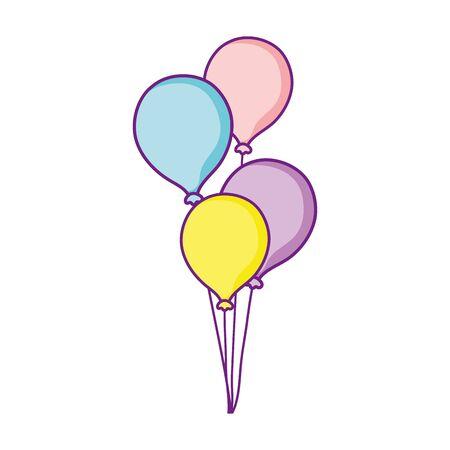 bunch balloons decoration celebration party festive vector illustration