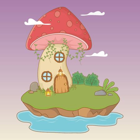 fairytale landscape scene with fungus vector illustration design
